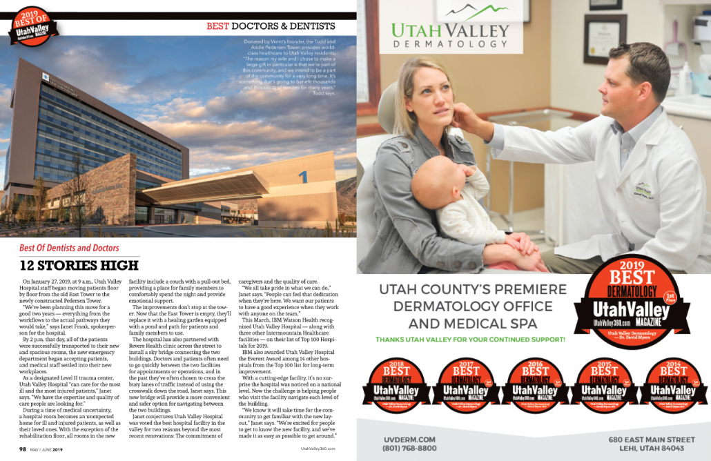 Utah Valley Magazine - Voted 2019's Best Dermatology and Medical Spa